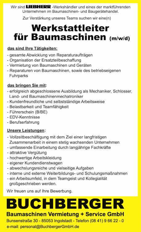 Stellenangebot Werkstattleiter f. Baumaschinen